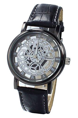 Armbanduhr SODIAL R Damen Herren Skelett Uhr Kunstleder Armband Analog Sport Schwarz band Schwarz Zifferblatt