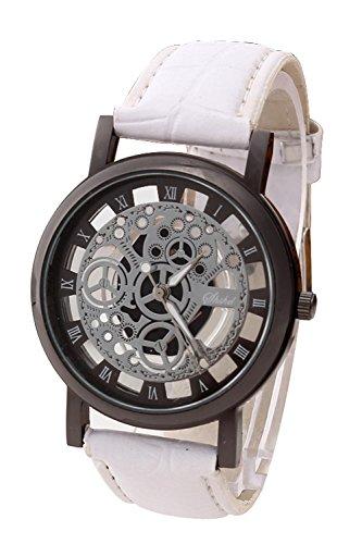 Armbanduhr SODIAL R Damen Herren Skelett Uhr Kunstleder Armband Analog Sport Weiss band Schwarz Zifferblatt