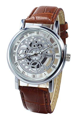 Armbanduhr SODIAL R Damen Herren Skelett Uhr Kunstleder Armband Analog Sport Braun band Weiss Zifferblatt