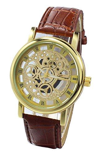 Armbanduhr SODIAL R Damen Herren Skelett Uhr Kunstleder Armband Analog Sport Braun band Gold Zifferblatt