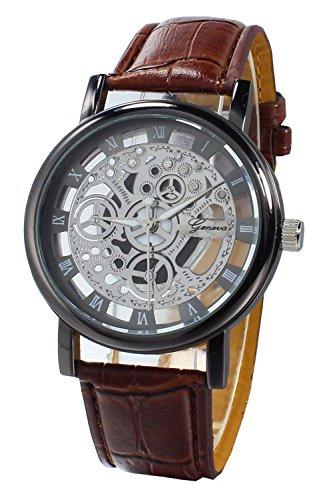 Armbanduhr SODIAL R Damen Herren Skelett Uhr Kunstleder Armband Analog Sport Braun band Schwarz Zifferblatt