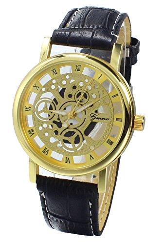 Armbanduhr SODIAL R Damen Herren Skelett Uhr Kunstleder Armband Analog Sport Schwarz band Gold Zifferblatt