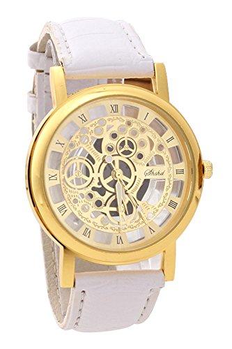 Armbanduhr SODIAL R Damen Herren Skelett Uhr Kunstleder Armband Analog Sport Weiss band Gold Zifferblatt