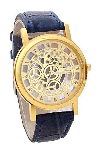 Armbanduhr SODIAL R Damen Herren Skelett Uhr Kunstleder Armband Analog Sport Blau band Gold Zifferblatt