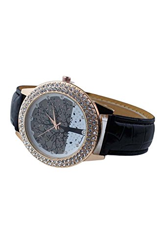 Armbanduhr SODIAL R Frauen Baum Muster Ziffernblatt Strass Armbanduhr schwarz