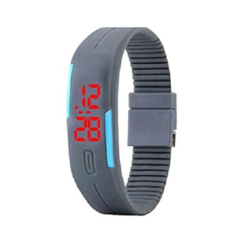 Armbanduhr SODIAL R Mode Herren Frauen Elegant Rubber LED Uhr Datum Sports Armband Grau