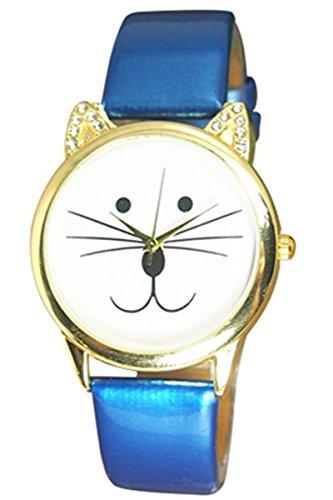Armbanduhr SODIAL R Armbanduhr Damen Strass Katze Gesicht Armbanduhr Blau