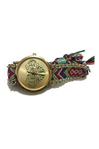 Armbanduhr SODIAL R DIY Love Gold Rund Cotton Rope Armband Quarz Mode 9