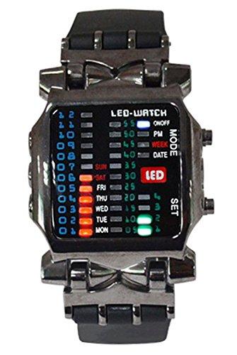 Armbanduhr SODIAL R Unisex Binaer LED Uhr Digital Datumsanzeige Bunt Sport Trend Armbanduhr Gewehrfarbe