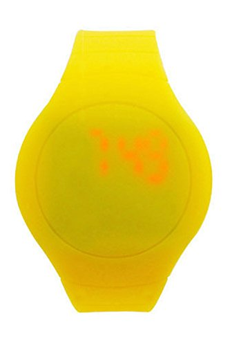 Armbanduhr SODIAL R Cool Touch LED Digital Uhr Armbanduhr mit rundem Zifferblatt Gelb