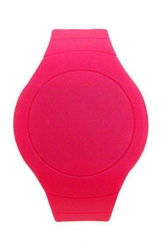 Armbanduhr SODIAL R Cool Touch LED Digital Uhr Armbanduhr mit rundem Zifferblatt Rose Rot