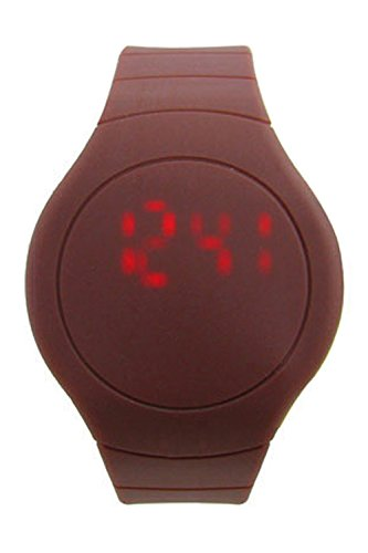 Armbanduhr SODIAL R Cool Touch LED Digital Uhr Armbanduhr mit rundem Zifferblatt Kaffee