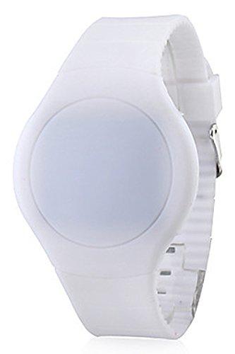 Armbanduhr SODIAL R Cool Touch LED Digital Uhr Armbanduhr mit rundem Zifferblatt Weiss