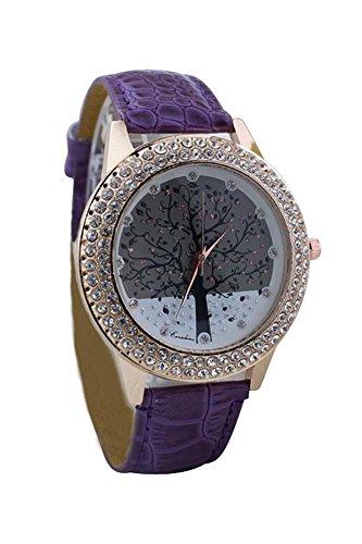 Armbanduhr SODIAL R Frauen Baum Muster Ziffernblatt Strass Armbanduhr lila