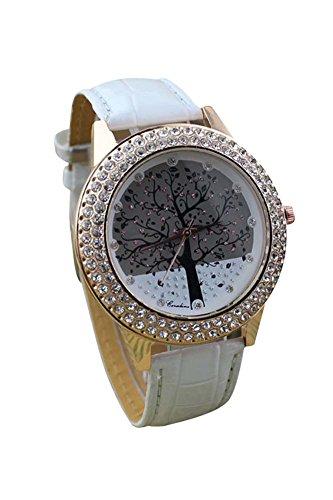 Armbanduhr SODIAL R Frauen Baum Muster Ziffernblatt Strass Armbanduhr weiss
