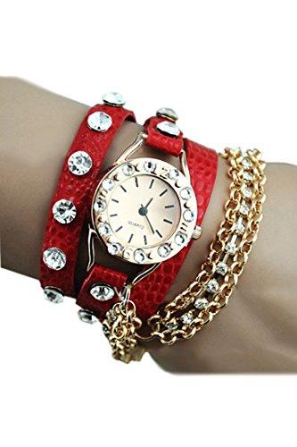Armbanduhr SODIAL R Frauen funkelnder Strass Schlingkette rot
