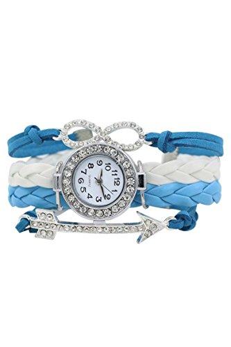 Armbanduhr SODIAL R Frauen Kristall Ziffernblatt Pfeil Charme Leder Armbanduhr Weiss blau