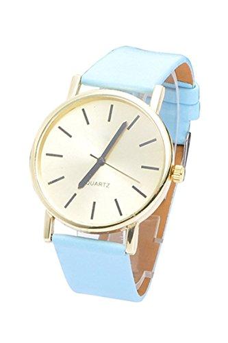 Armbanduhr SODIAL R Frauen Kunstleder Band Armbanduhr blau