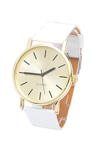 Armbanduhr SODIAL R Frauen Kunstleder Band Armbanduhr weiss
