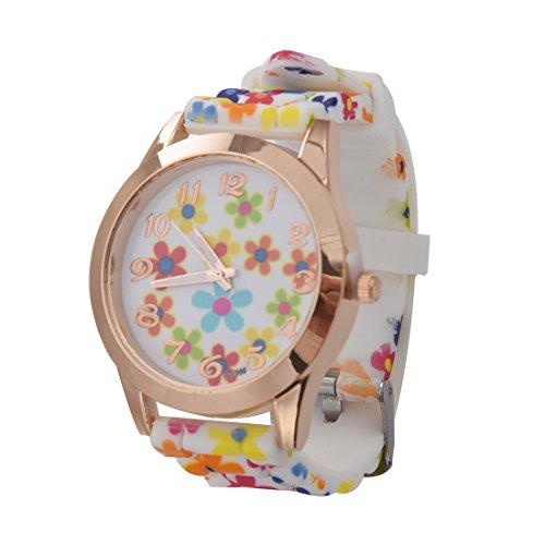 Armbanduhr SODIAL R Frauen Silikon Band Blumen Druck Modell 4