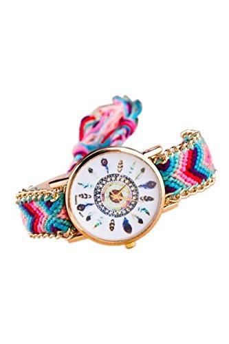 Armbanduhr SODIAL R Damen Goldkette geflochtenes Armband Armbanduhr Farbe No 10