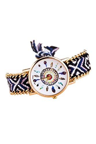 Armbanduhr SODIAL R Damen Goldkette geflochtenes Armband Armbanduhr Farbe No 9