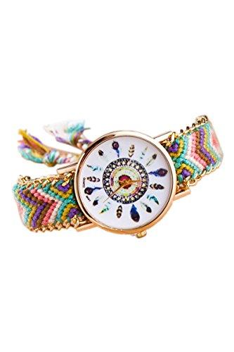 Armbanduhr SODIAL R Damen Goldkette geflochtenes Armband Armbanduhr Farbe No 6