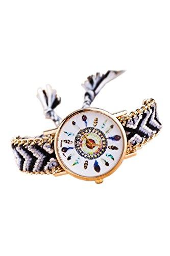 Armbanduhr SODIAL R Damen Goldkette geflochtenes Armband Armbanduhr Farbe No 4