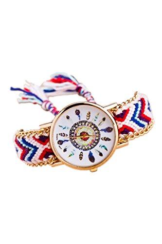Armbanduhr SODIAL R Damen Goldkette geflochtenes Armband Armbanduhr Farbe No 11