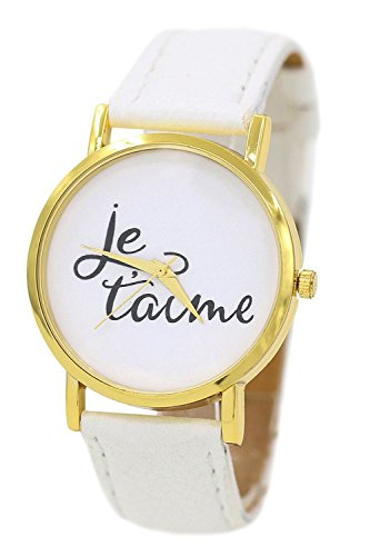 Armbanduhr SODIAL R Damen und Herren je taime Paar Liebe Kunstleder Quarz Analoge Armbanduhr Weiss