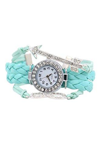 Armbanduhr SODIAL R Frauen Kristall Ziffernblatt Pfeil Charme Leder Armbanduhr Hellblau