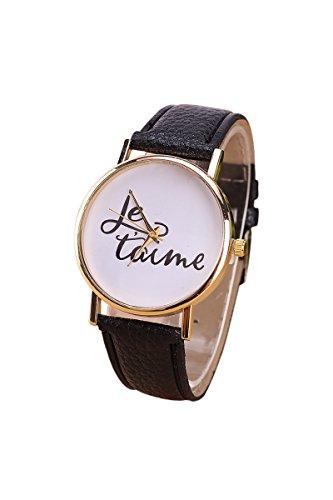 Armbanduhr SODIAL R Damen und Herren je taime Paar Liebe Kunstleder Quarz Analoge Armbanduhr Schwarz