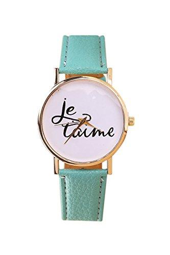 Armbanduhr SODIAL R Damen und Herren je taime Paar Liebe Kunstleder Quarz Analoge Armbanduhr Tadelloses Gruen