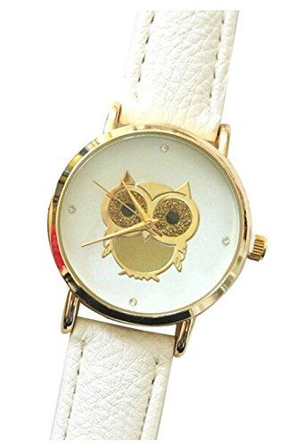 Armbanduhr SODIAL R Eule Armbanduhr Damen Eule Kunstleder Armband Beilaeufige Armbanduhr Weiss