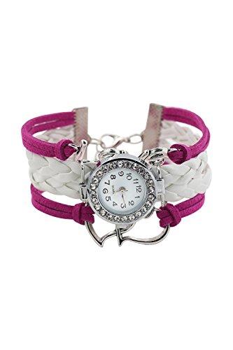 Armbanduhr SODIAL R Maedchen Stricken Kunstleder Band Liebes Herz Charme Glass Armbanduhr Rose Rot Weiss