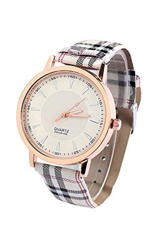 Armbanduhr SODIAL R Retro Unisex Frauen und Maenner Kunstleder Armbanduhr mit Lattice Gurt Quarz Uhr Weiss