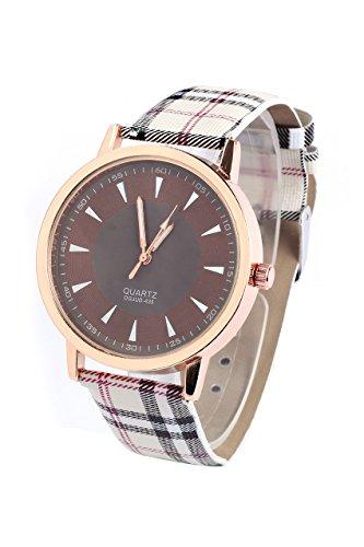 Armbanduhr SODIAL R Retro Unisex Frauen und Maenner Kunstleder Armbanduhr mit Lattice Gurt Quarz Uhr Braun