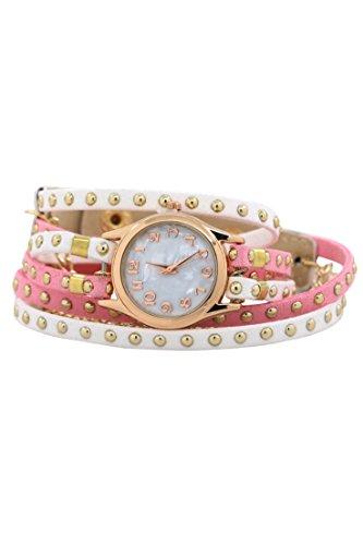 Armbanduhr SODIAL R Frauen mehrschichtige Niet Kunstleder Verpackungs Armbanduhr rosa Weiss