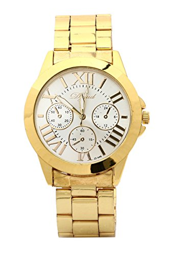 Armbanduhr SODIAL R Mode Damen Herren Roman Runduhr Gold Legierung Armband Analog Quarz Kleid Armbanduhr Weiss