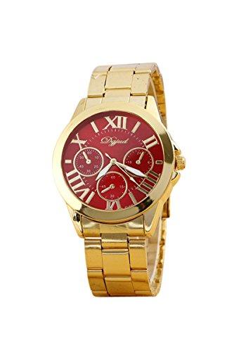Armbanduhr SODIAL R Mode Damen Herren Roman Runduhr Gold Legierung Armband Analog Quarz Kleid Armbanduhr Rot