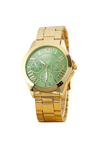 Armbanduhr SODIAL R Mode Damen Herren Roman Runduhr Gold Legierung Armband Analog Quarz Kleid Armbanduhr Gruen