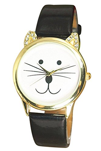 Armbanduhr SODIAL R Armbanduhr Damen Strass Katze Gesicht Armbanduhr Schwarz