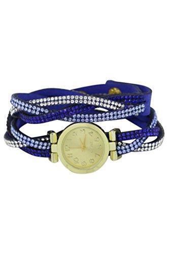 Armbanduhr SODIAL R Armbanduhr Damen Strass Verpackung Armbanduhr Dunkelblau