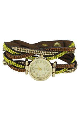 Armbanduhr SODIAL R Armbanduhr Damen Strass Verpackung Armbanduhr Kaffee Farbe