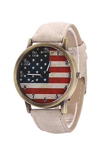 Armbanduhr SODIAL R Unisex amerikanische Flagge Muster Bronze Denim Band Armbanduhr weiss