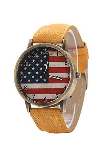 Armbanduhr SODIAL R Unisex amerikanische Flagge Muster Bronze Denim Band Armbanduhr gelb