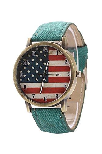 Armbanduhr SODIAL R Unisex amerikanische Flagge Muster Bronze Denim Band Armbanduhr gruen