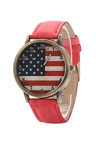 Armbanduhr SODIAL R Unisex amerikanische Flagge Muster Bronze Denim Band Armbanduhr rot