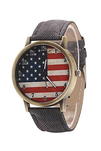 Armbanduhr SODIAL R Unisex amerikanische Flagge Muster Bronze Denim Band Armbanduhr schwarz