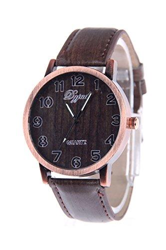 Armbanduhr SODIAL R Unisex Kunstleder Band Holzmaserung Armbanduhr Typ C
